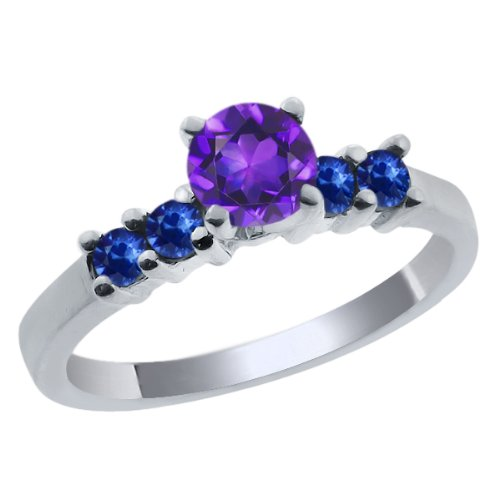0.77 Ct Round Purple Amethyst Blue Sapphire 925 Sterling Silver Engagement Ring