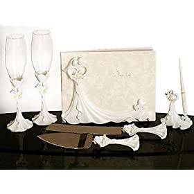 Bride and Groom Calla Lilys Wedding Set: Guest Book, Pen Set, Cake Serving Set, Toasting Flutes