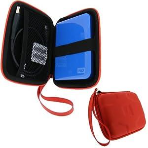 igadgitz Hartschalentasche Hardcase aus EVA-Stoff: Etui Schutzhülle Tasche Hülle Case in Rot für tragbare externe Festplatten 2,5