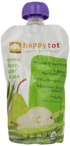 Happy Tot Green Beans, Peas, Pear, 4.22oz - 1