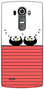 Snoogg Love Owl Birds Designer Protective Back Case Cover For LG G4