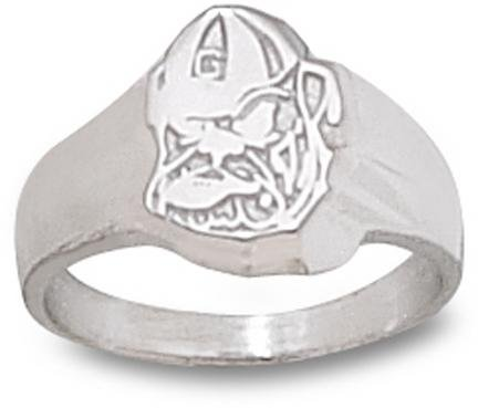 Georgia Bulldogs Sterling Silver Classic Bulldog Head Ring Size 6