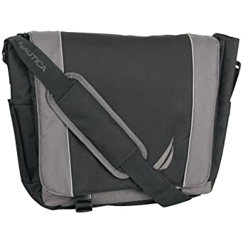 Nautica Luggage Spinnaker Messenger Bag, Black/Grey, One Size