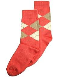 Tic Tac Toe - Big Girls\' Argyle Sock, Salmon 31867-XX-Large