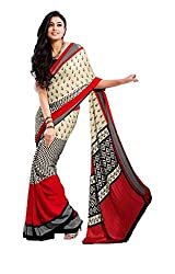 Design Willa Bollywood Style Smooth Crepe Sari (DWSM012,Beige and Red)