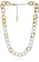 "Steve Madden ""White"" Gold Link Necklace, 21"""