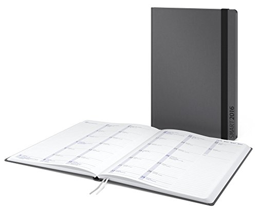 Geiger-Notes - Hybrid-Timer Smart Month, A4, 192 Seiten, 128 Seiten Notizen + 64 Seiten Kalendarium am Buchende, Hardcover in anthrazit mit runden Ecken, Gummiband-Verschluss, Notizbuch mit integriertem Kalendarium - Made in Germany