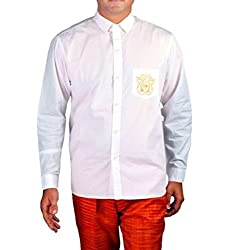 Riverbero Men's Casual Shirt (SN_DFS_218_White_40)