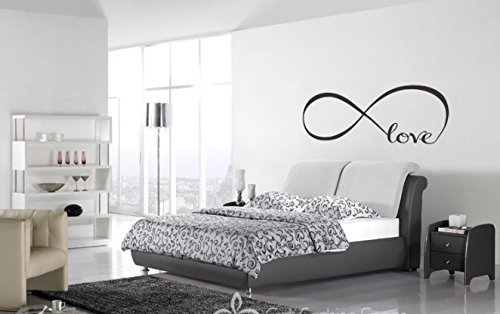 Wall Decal of Love Personalized Infinity Symbol Bedroom Wall Decal Bedroom Decor Quotes Vinyl Wall Stickers with 5 Butterflies (Infinity Wall Decal compare prices)