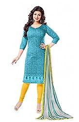 Khushali Presents Chanderi Dress Material (Turquoise,Yellow)