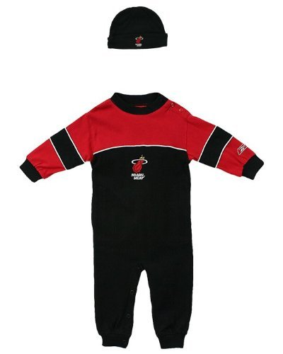Miami Heat Nfl Infants Coverall - Creeper & Hat 2 Piece Set (24 Months, Black_Gray) front-949453