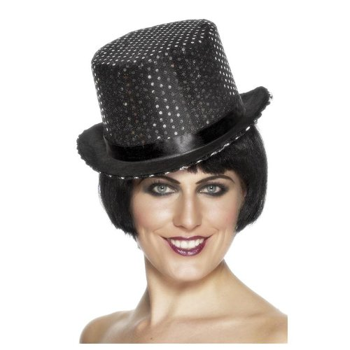 Smiffys Sequinned Topper Hat Black Ladies - 1