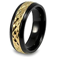 Black Plated Titanium Ring with Gold Plated Diamond Pattern (Sizes 8 - 12)