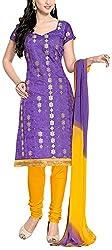 Fabiola Trendz Women's Cotton Silk Unstitched Dress Material (Purple )