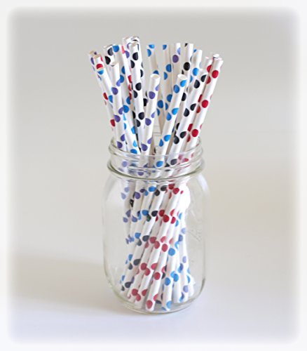 Color Polka Dot Straws, Drink Stirrers, Eco-Friendly Straws, Big Drinking Straws, 25 Pack - Dark Color Polka Dot front-713696