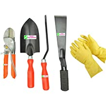 "Easy Gardening - Garden Tools Kit (4Tools) + Yellow Gardening Gloves - Trowel Big, 8"" Pruning Secateur, 2"" Khurpa..."