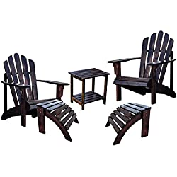 Shine Westport Adirondack Chairs With Two Ottoman and a Rectangular Side Table Bundle in Burnt Brown