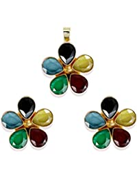 Zaveri Pearls Limited Edition Panchratna Semi Precious Stones Pendent Set With Finger Ring For Women - ZPFK5348