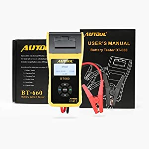 AUTOOL BT-660 12V/24V 100-3000 CCA Auto Battery Load Tester for All Cars Cranking and Charging System Diagnostic Tool with Built-in Thermal Printer (Tamaño: BT-660-Printer)