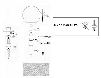 Trango 200mm Durchmesser Ip44 Gartenkugelleuchte Tg200 Mit 1x E27