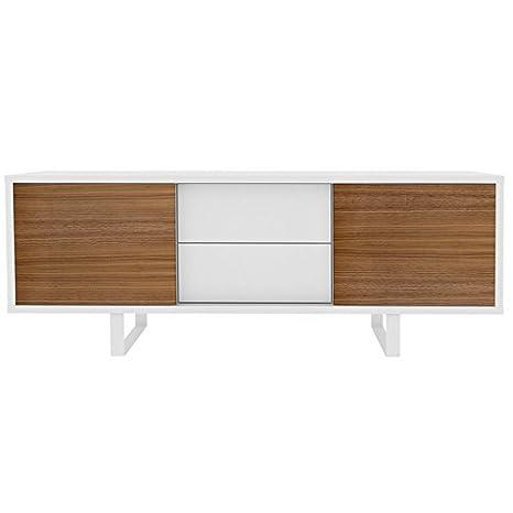TemaHome Sideboard mit 2 Schiebeturen und 2 Schubladen Slide weiß/nussbaum
