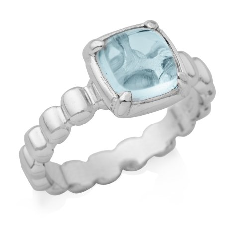 By Joy Ladies' Sterling Silver Engagement Ring Real Blue Topaz- Size N