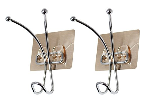 JustNile Removable Wall Adhesive Metal Wire Coat and Hat 3 Prong Hook, Set of 2