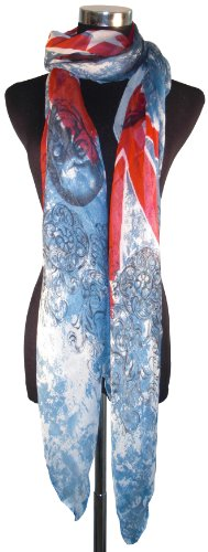 Large Red White and Blue McQueen Style, Union Jack & Skull Design Chiffon Scarf or Sarong