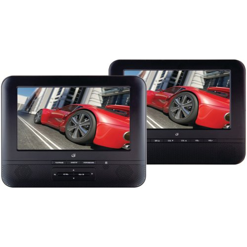 "1 - 7"" Portable Twin Screen Dvd Player, Mobile Cinema For 2, Includes 7"" Dvd Player, 7"" Screen, 2 Headrest Bags For The Car & All Cables, Pd7711B"