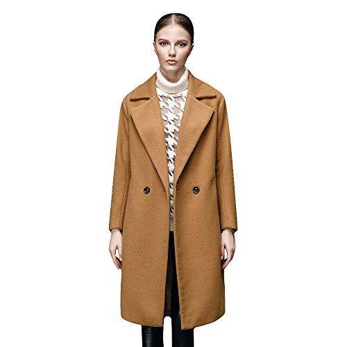THIN MORE Women's Plus Size Winter Warm Knee Length Long V Neck Wool Coat 16 Kahki