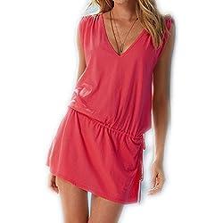 ERGEOB® Damen tiefem V-Ausschnitt Öffnen Rückseite Strand Bikini Vertuschung Kleid Strand Rock Koralle