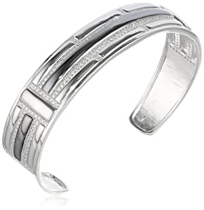 "Sterling Silver Simulated Diamond Textured Cuff Bracelet, 7.5"" by PAJ, Inc"