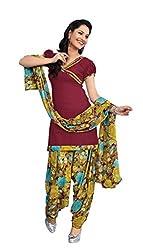 Abida Art Crepe Maroon Color Unsritch Salwar Suit