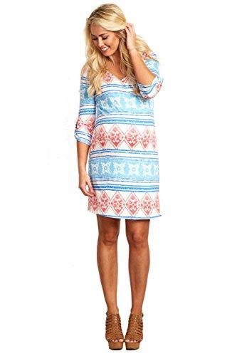 PinkBlush Maternity Blue Diamond Striped Printed 3/4 Sleeve Maternity Dress, La (Pink And Blue Dress compare prices)