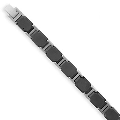 8 Inch Black Ceramic Tungsten Carbide Men'S Bracelet