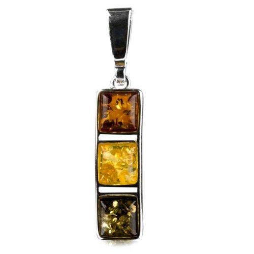 Multicolor Amber Sterling Silver Square Pendant