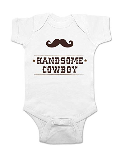 Handsome Cowboy With A Mustache - Cute Baby One Piece Infant Clothing (6 Months, White)