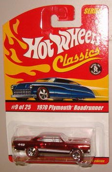 Hot Wheels Classic Series 1: 1970 Plymouth Roadrunner #9 of 25 1:64 Scale Collectible Die Cast Car with a Special Spectraflame Paint - 1