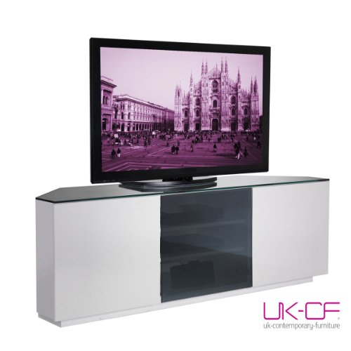 Milan Cityscape Designer White Gloss with Black Glass TV Unit - Flat Pack