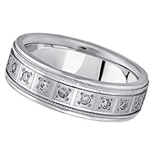 Allurez Pave-Set Diamond Wedding Band in Platinum for Men (0.40 ctw) - V 1/2