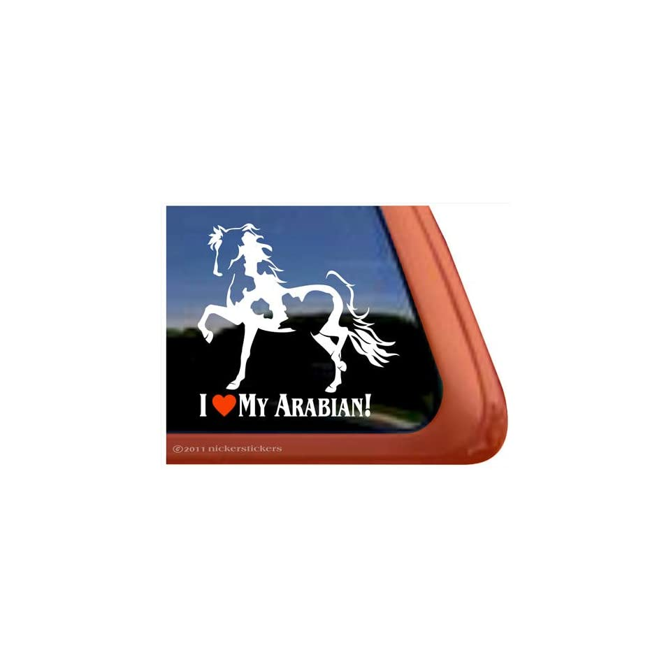 I Love My Arabian Horse Trailer Vinyl Window Decal Sticker