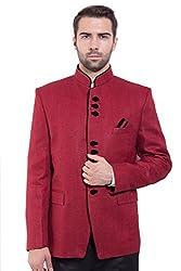 Wintage Men's Rayon Cotton Bandhgala Festive Maroon Nehru Mandarin Blazer