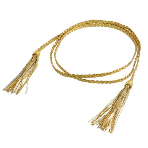 Tassel Embellished Braided Waist Belt Waistband Gold Tone for Woman