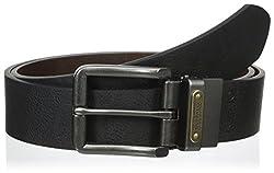 Buffalo Men's 38Mm Vintage Reversible Logo Plate Belt, Black/Brown, 32