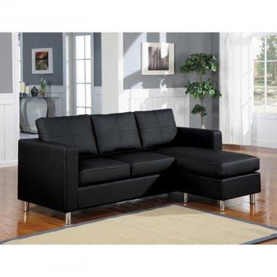 Furniture2go 15065 Reynold Black Bycast PU Sectional Sofa - Chaise, Sofa