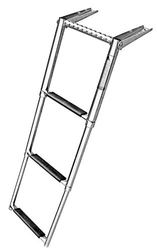 Amarine-made 3 Step Telescoping Swim Marine Boat Ladder Stainless with Built in Handle