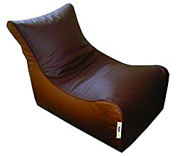 Lounger Chair (Cover Only) Art Leather Brown + Tan (Front Height-16, Front width-25, Back Height-38, Depth-28 )