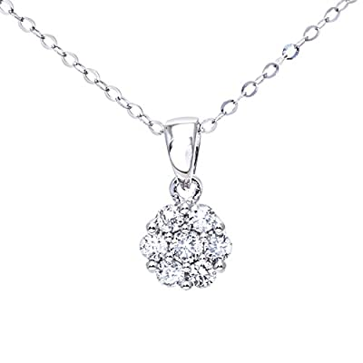 Ariel Women's 9ct White Gold 0.20ct Diamond Cluster Pendant + 46cm Trace Chain
