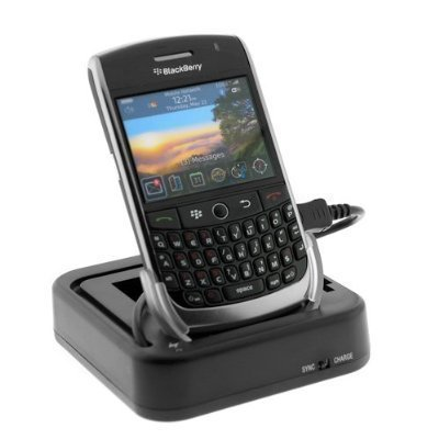 3-In-1 USB Hot Sync Charging Cradle with Spare Battery Charger Slot for T-Mobile RIM BlackBerry Curve 8900 Cell Phone