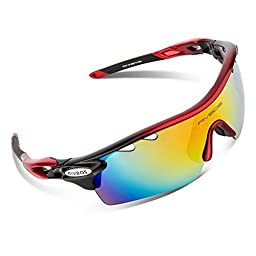 RIVBOS Rb0801 POLARIZED Sports Sunglasses with 5 Set Exchangeable Uv400 Lens (Red&Grey)